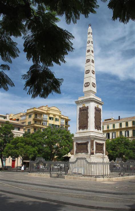 obelisk monument malaga spain stock photo image