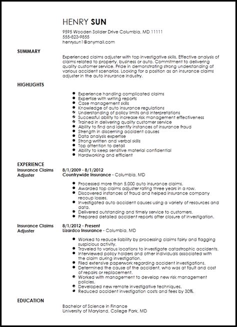 free traditional insurance claims adjuster resume template