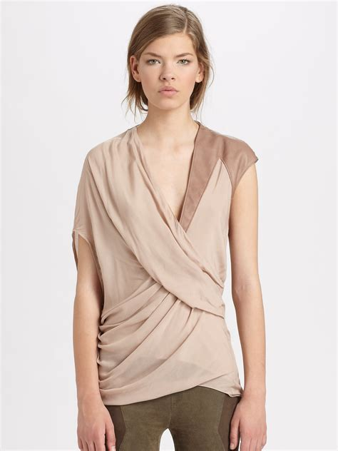 draped in lyst helmut lang lush voile draped top in pink