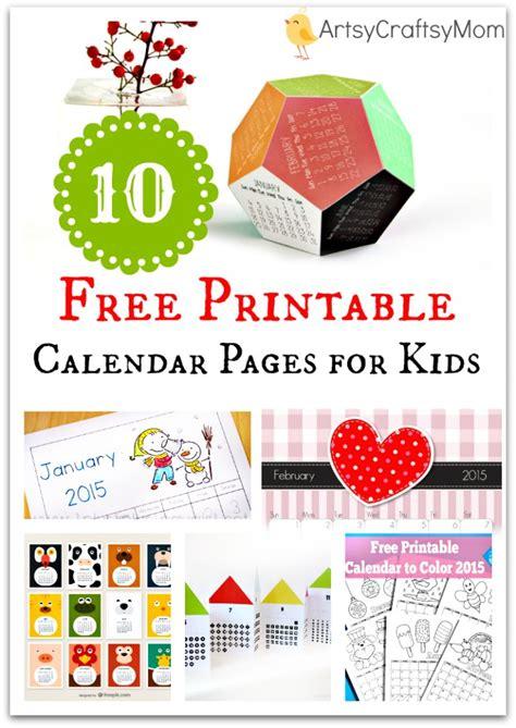 printable calendar pages  kids artsy craftsy mom
