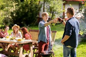 Friends Drinking Beer At Summer Barbecue Party Stock Photo ...