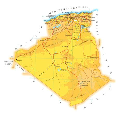 Carte Algerie Villes by Large Road Map Of Algeria With Cities Algeria Large Road