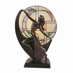 Art deco lady tiffany stained glass table lamp bronze for Art deco lady floor lamp