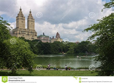 Central Park Boat Paddling by The Lake Of Central Park New York City Editorial Image