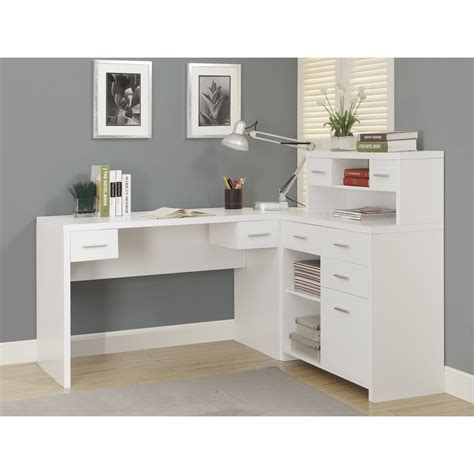 table l white monarch hollow l shaped home office desk white