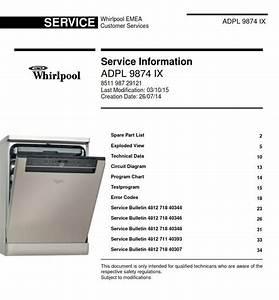 Whirlpool Adpl 9874 Ix Dishwasher Service Information