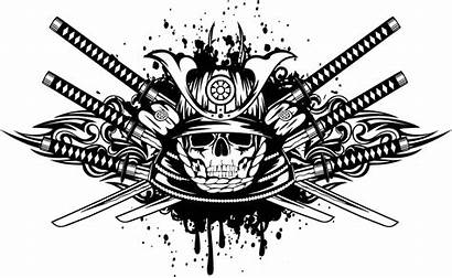 Samurai Skull Warrior Vector Katana Royalty Clipart