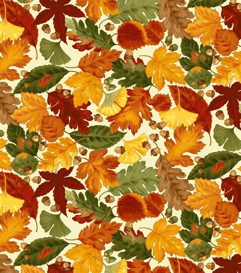autumn inspirations fabric leaves and acorns beige
