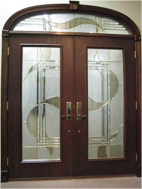 modern double front door design  glass interior