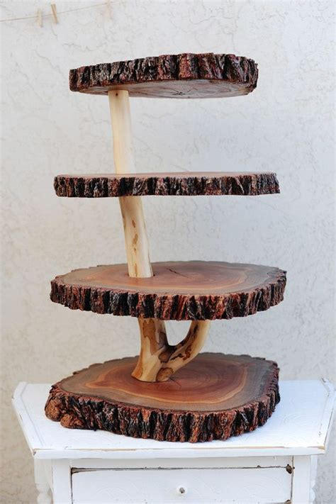 rustic 4 tiered custom wood tree slice cupcake stand for wedding or x large size at