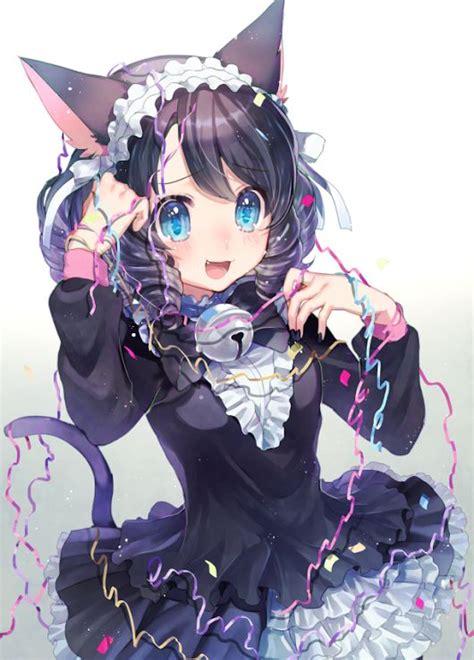 kawaii neko blue black hair neko ears