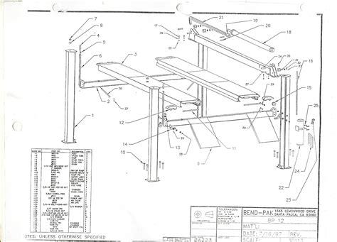 benwil 2 post lift parts diagram benwil get free image