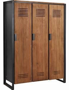 Schrank 120 Cm : schrank industriedesign kleiderschrank metall und holz breite 120 cm ~ Markanthonyermac.com Haus und Dekorationen