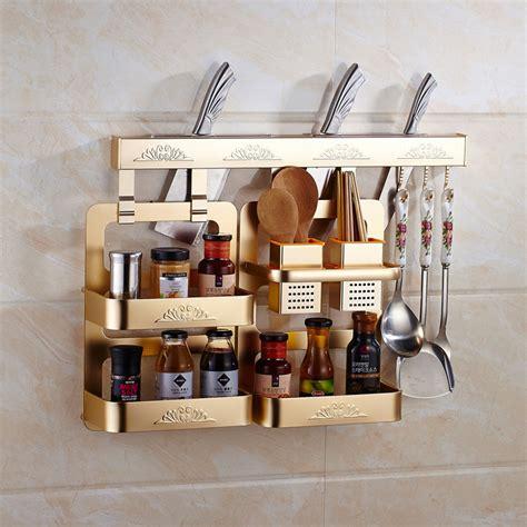 Rak Kosmetik Aluminium golden wall mounted ruang aluminium bumbu dapur organizer