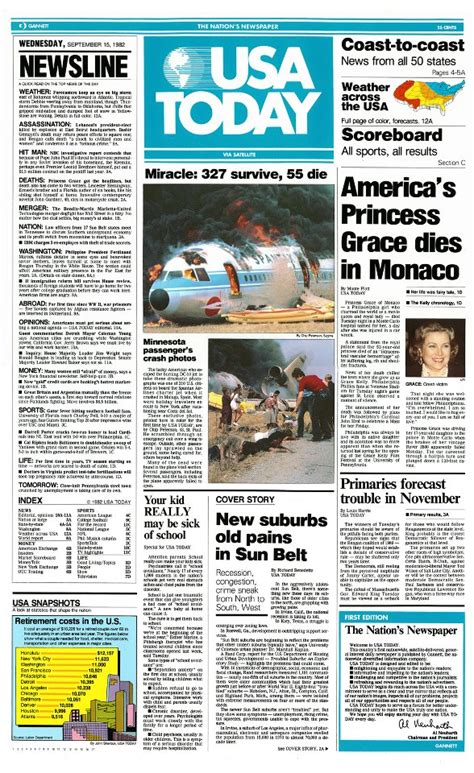 USA TODAY - The front page of the first edition of USA ...