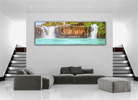 Home Decor Paintings 3 Panel Classic Paris Oil Painting On: Tropical Island Waterfall Panoramic Picture Canvas Print