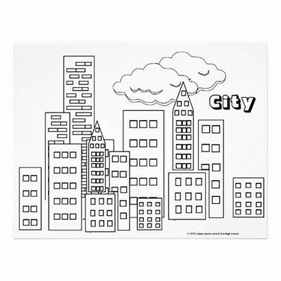 Coloring Pages Printable Skyline Cityscape Colouring Simple