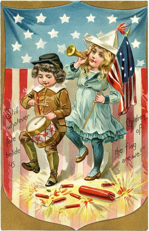 vintage patriotic postcard image  graphics fairy