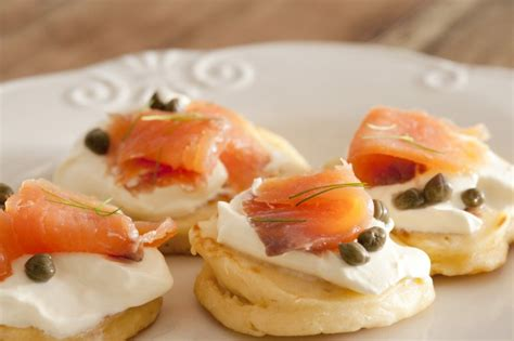 fresh canapes salmon blini free stock image