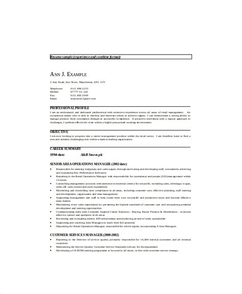 Professional Resume Exles Management by Sle Retail Management Resume 8 Exles In Word Pdf