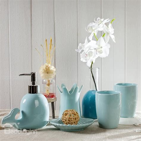 cute dolphin design ceramics  pieces bathroom accessories