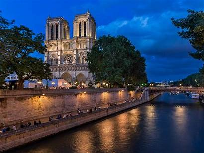 Paris Cathedral Seine Dame Notre Evening River