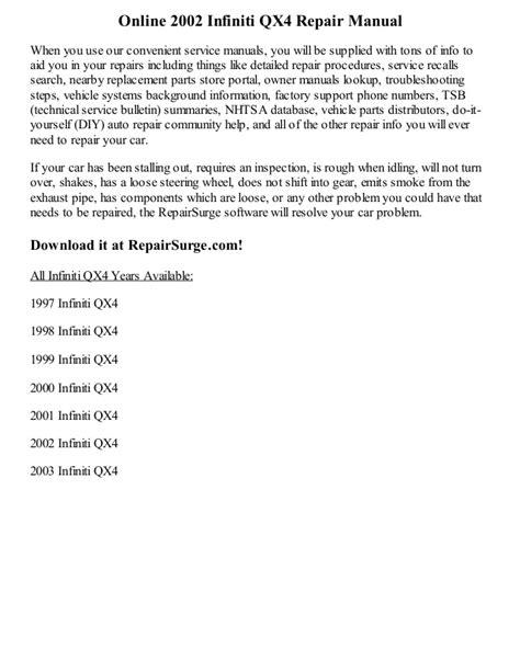 manual repair free 2003 infiniti qx free book repair manuals 2002 infiniti qx4 repair manual online