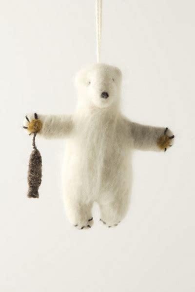 felted polar bear ornament contemporary christmas