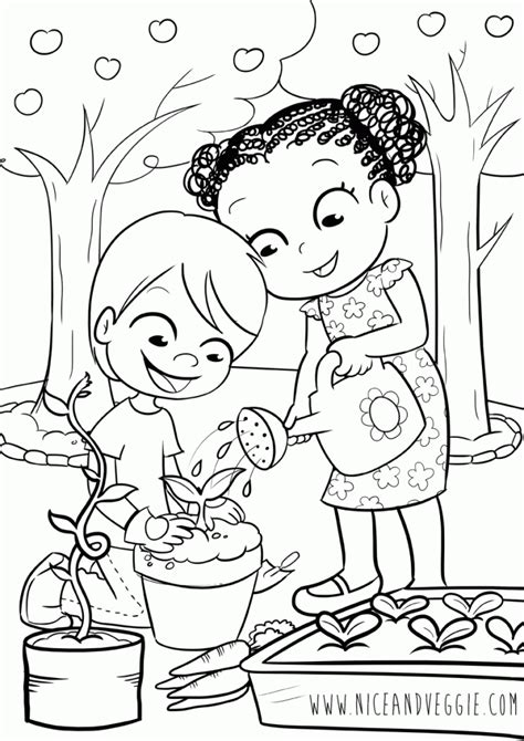 kids gardening coloring pages  children nice