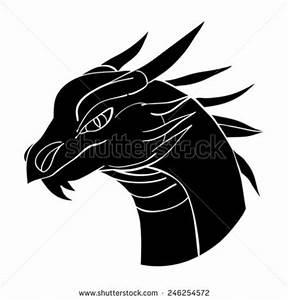 Dragon head avatar, Chinese zodiac sign, black silhouette ...