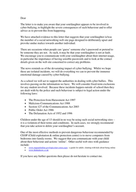 Letter outline informing parents of cyberbullying by