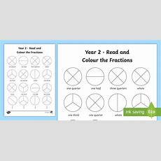 Year 2 Read And Colour A Fraction Worksheet  Worksheet  Fractions, Colours