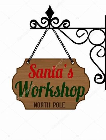 Workshop Sign Elegant Christmas Stamp Santa Edition