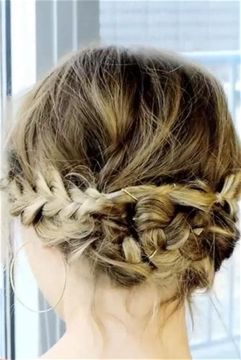 braided updo   messy touch  short hair