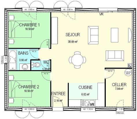 maison plain pied 2 chambres plan maison 1 chambre plain pied