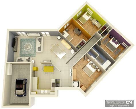 Plan De Maison 3d Maisons Cr 233 A Concept 169 Plans 3d Plongeants Studio Cn