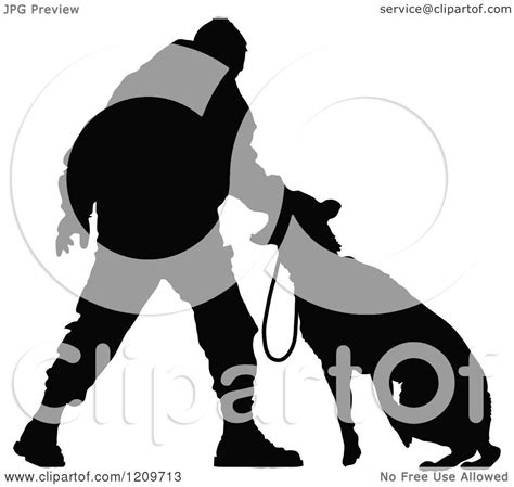 clipart   black silhouetted police officer training    dog royalty  vector