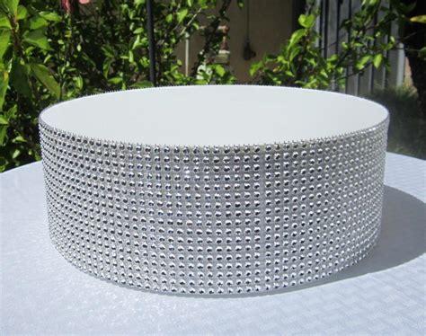 round wedding cake stand riser rhinestone mesh white