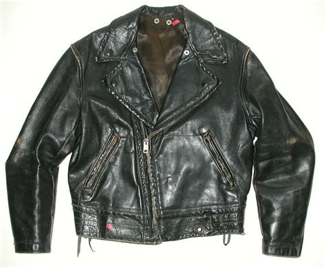 Vintage Men's Police Black Leather Motorcycle Biker Jacket