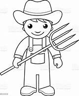 Farmer Coloring Pages Vector Outline Farm Pitchfork Printable Illustration Sheets Agriculture Drawing Farmers Colouring Community Preschool Helpers Printables Worksheets Istockphoto sketch template