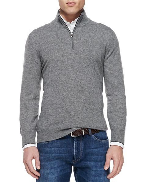 mens half zip sweater brunello cucinelli 2 ply half zip pullover in