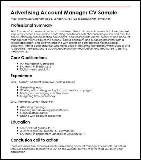 advertising account manager cv sle myperfectcv