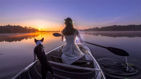 wallpaper beautiful girl boat dog sunset photography