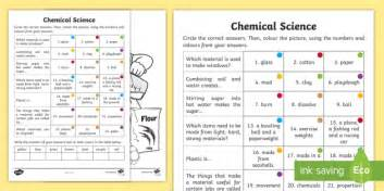 year 2 chemical science questions and colouring activity