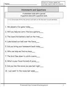 Statement or Question Sentences Worksheet