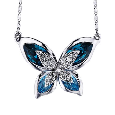 womens butterfly blue swarovski crystals pendant necklace