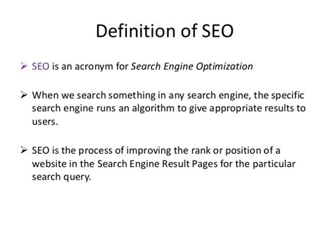 website seo definition what is seo an elementary idea