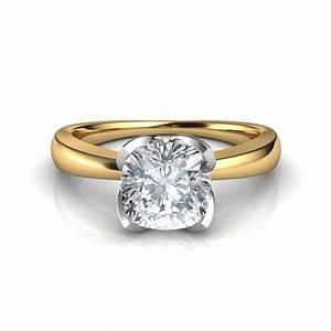petal design cushion cut solitaire diamond engagement ring With wedding ring diamond
