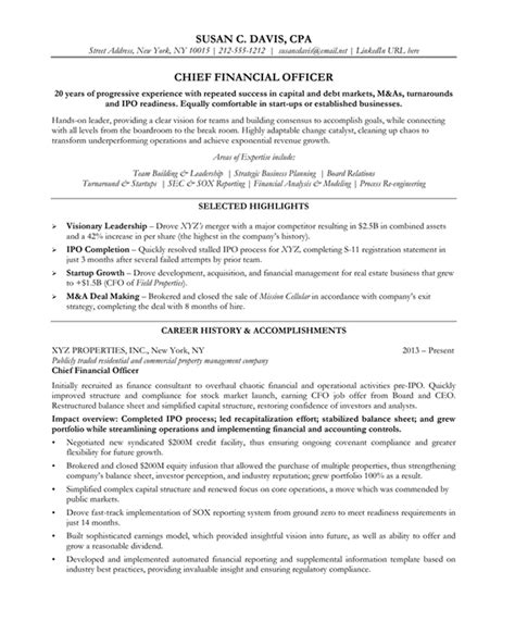 19404 finance resume exles executive cfo resume exles chief financial officer sle