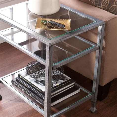 end tables for sectionals upton home silver metal and glass end table overstock